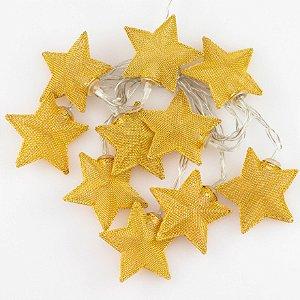 Cordão de Luz Estrelas Douradas (A pilha)