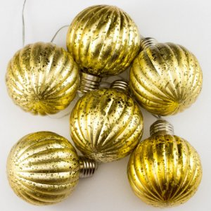 Cordão de Luz Bolas de Natal Douradas (A pilha)