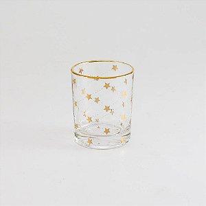 Porta-vela Estrelinhas Douradas em Vidro