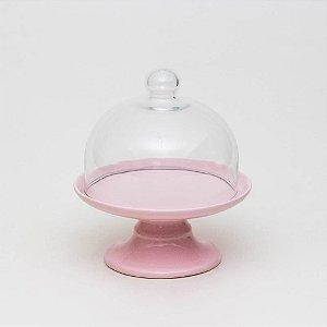 Boleira Candy Rosa com Redoma - P