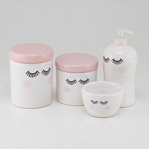 Kit Higiene Rosa e Branco - Cílios
