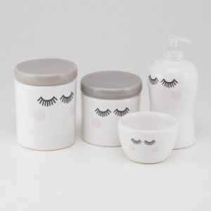 Kit Higiene Cinza e Branco - Cílios