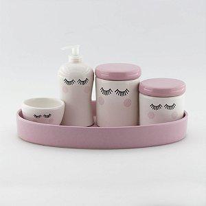 Kit Higiene Cílios Rosa Bebê - 5 peças