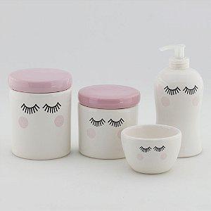 Kit Higiene Rosa Bebe e Branco - Cílios