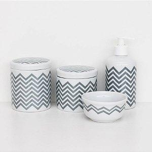 kit higiene de porcelana - Chevron cinza