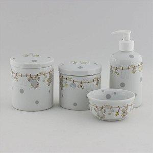 Kit Higiene Varal Cinza e Amarelo