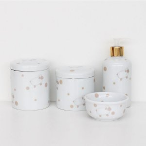 kit higiene de porcelana - Ovelhinhas bege