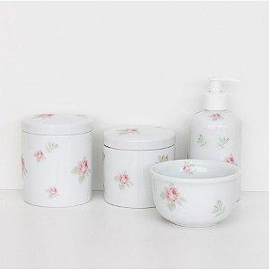 kit higiene de porcelana - Rosas