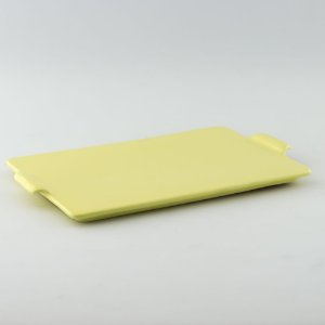 Bandeja retangular de louça amarela candy