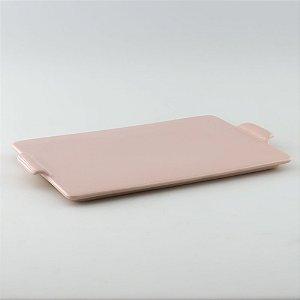 Bandeja retangular de louça rosa