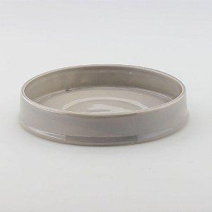 Bandeja redonda de louça cinza