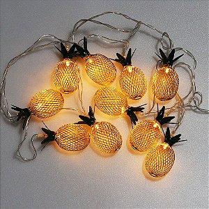 Cordão de luz de abacaxi metálico