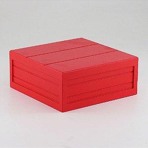 Caixa de altura com friso em MDF - Vermelho