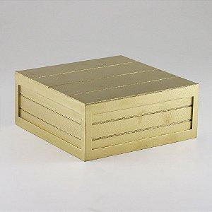Caixa de altura com friso em MDF - Dourado