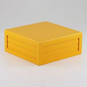 Caixa de altura lisa em MDF - Amarelo gema