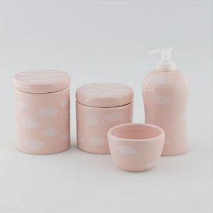 Kit Higiene Rosa com Nuvem