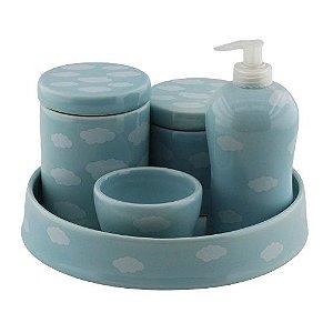 Kit Higiene Azul com Nuvem e bandeja
