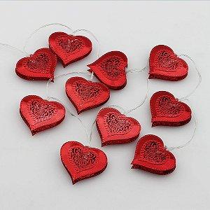 Cordão de Luz Coração de metal Vermelho (A pilha)