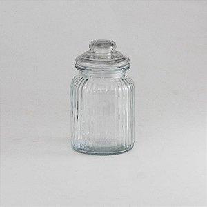 Pote de vidro canelado M