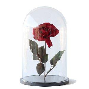 Redoma de vidro lisa com rosa - base de MDF preta