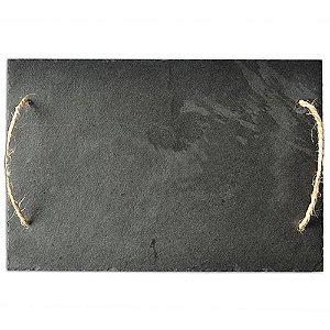 Bandeja de Ardósia com Alça em Corda Acab. Rústico (30x45cm)