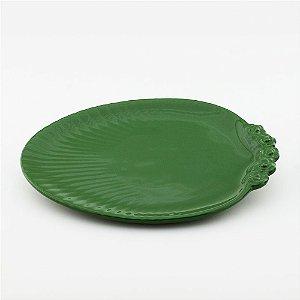 Prato Oval verde escuro - grande (26x33cm)