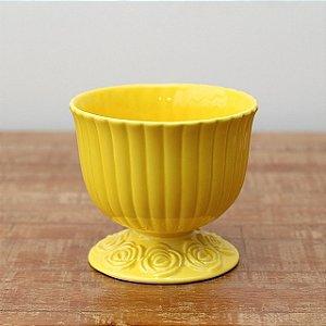 Cachepot canelado amarelo G (16x18cm)