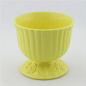 Cachepot canelado amarelo claro G (16x18cm)