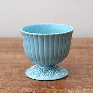 Cachepot canelado azul G (16x18cm)