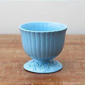 Cachepot canelado azul bebê G (16x18cm)
