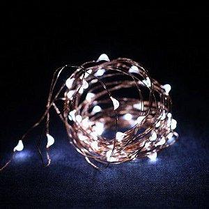 Fio de Luz Cobre - Luz branca - 50 LEDs (A pilha)