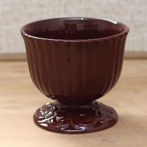 Cachepot canelado marrom G (16x18cm)