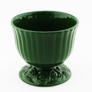 Cachepot canelado verde escuro G (16x18cm)