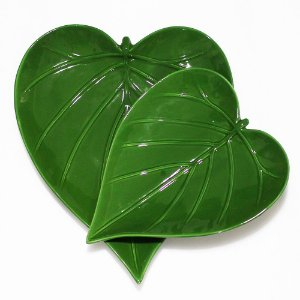 Jogo de pratos folha - forma de coração