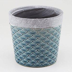 Vaso Textura Escamas - Azul