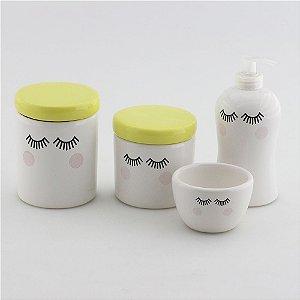 Kit Higiene Amarelo e Branco - Cílios