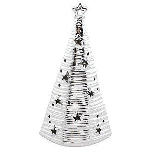 Árvore de Natal em cerâmica com LED - prata