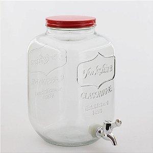 Suqueira de vidro 5 litros - vermelha