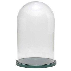 Redoma de vidro lisa com base de MDF verde metálica - média