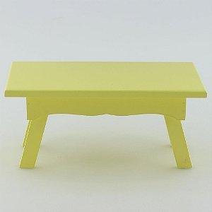 Banquinho Retangular em MDF - Amarelo claro