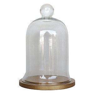 Redoma de vidro com base de MDF dourada - pequena