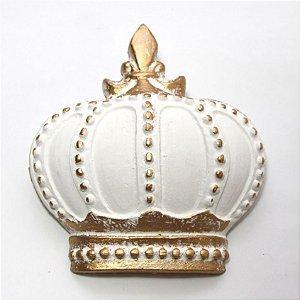 Coroa Decorativa de Parede - Branco e Dourada
