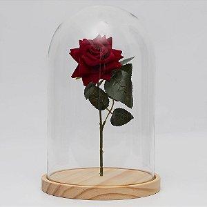 Redoma de vidro lisa com rosa - base de madeira Pinus