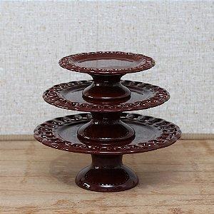 Suporte para Bolos Elos / Boleira Chocolate