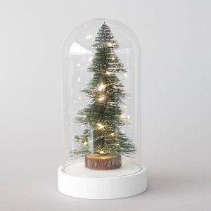 Redoma de vidro com árvore de Natal