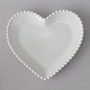 Prato de louça coração branco grande