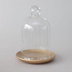 Redoma com base de louça - dourada