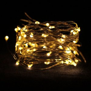 Fio de Luz Prata - Luz Amarela - 50 LEDs (A pilha)