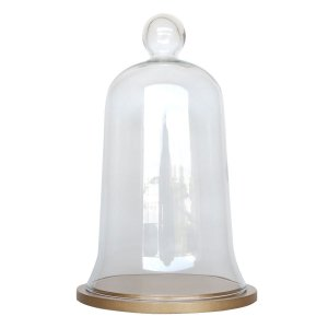 Redoma de vidro com base de MDF dourada - média