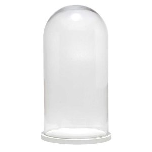 Redoma de vidro lisa com base de MDF branca - grande